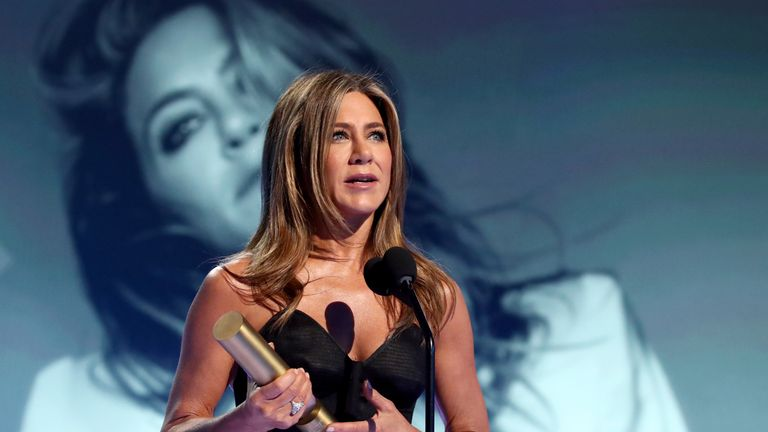 Jennifer Aniston receives the People's Icon award on stage during the 2019 E! People's Choice Awards held at the Barker Hangar on November 10, 2019. Pic: E! Entertainment
