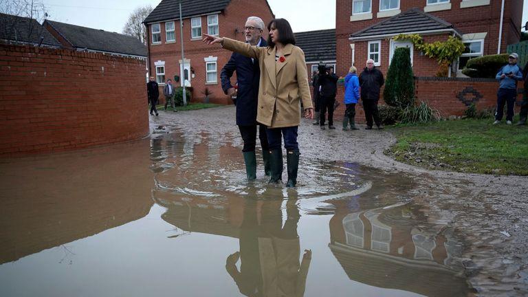 Labour leader Jeremy Corbyn and Labour MP Caroline Flint visit flood hit Doncaster
