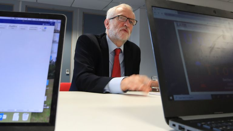 Jeremy Corbyn talks with students at Lancaster University regarding the party's plans to deliver fast and free full-fibre broadband across the country if they win