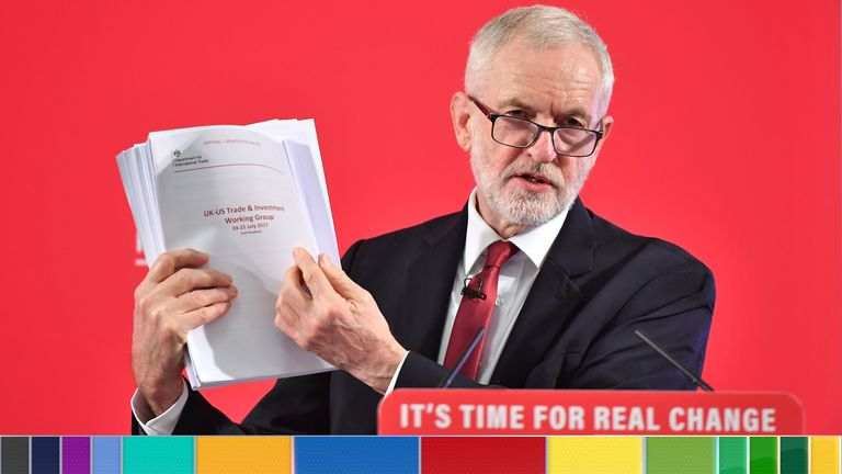 Labour leader Jeremy Corbyn holds a redacted copy of the Department for International Trade's UK-US Trade and Investment Working Group readout