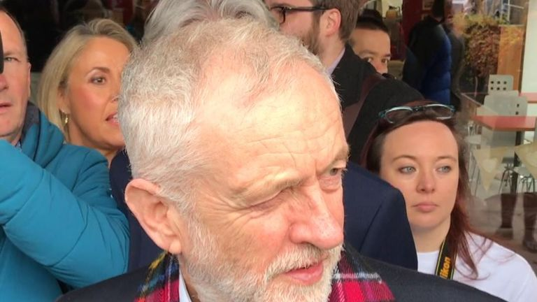 Jeremy Corbyn is heckled in Glasgow