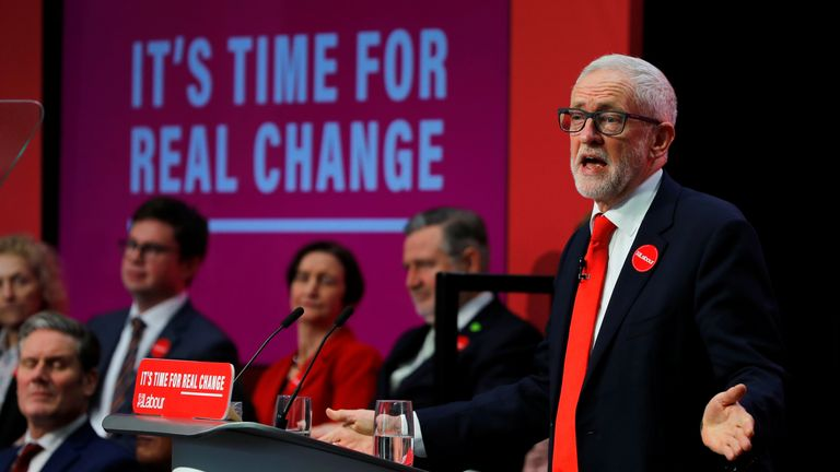 Jeremy Corbyn speaks at the launch of the Labour party manifesto in Birmingham