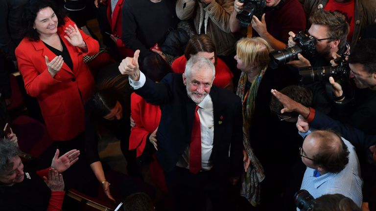 Britain's Labour Party leader Jeremy Corbyn gestures as he leaves after launching the party's election campaign in south London on October 31, 2019
