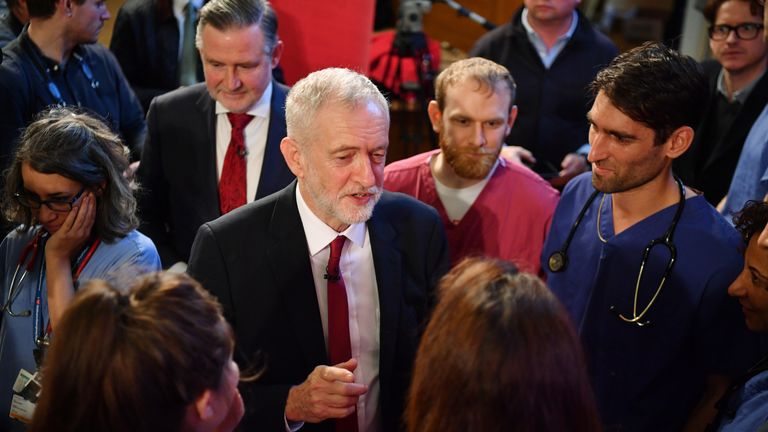 Jeremy Corbyn speaks with NHS workers during an election policy announcement in London
