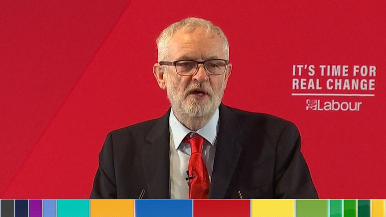 Jeremy Corbyn giving speech
