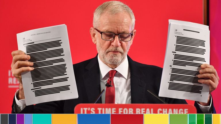 Jeremy Corbyn reveals unredacted documents which he claims prove NHS is on table in US trade deal