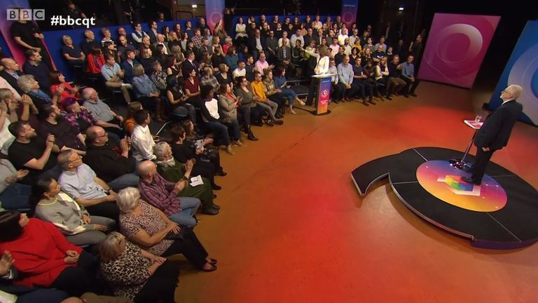 Jeremy Corbyn takes questions from the audience. Pic: BBC