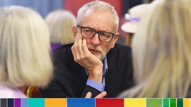 Jeremy Corbyn met WASPI campaigners in Renishaw, north-east Derbyshire