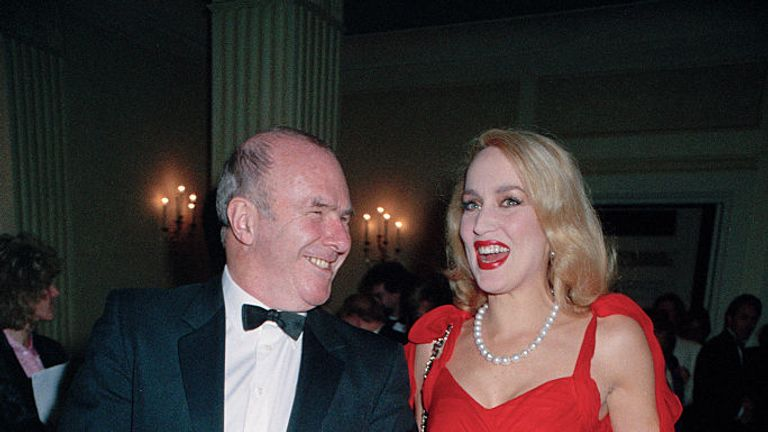 Clive James with American model, Jerry Hall, in 1993