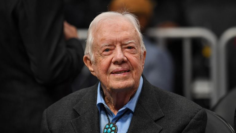Former USA president Jimmy Carter shown at the game between the Atlanta Hawks and the New York Knicks. Pic: Dale Zanine, USA TODAY Sports