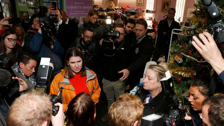 "Liberal Democrat leader Jo Swinson visits the charity shop ""Stainforth 4 All"" in Doncaster"
