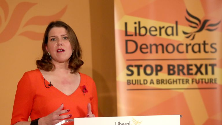 Liberal Democrat leader Jo Swinson speaking at the launch the Liberal Democrat General Election campaign