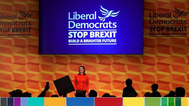 Liberal Democrats leader Jo Swinson makes a speech at a rally at the Battersea Arts Centre in Lavender Hill, while on the General Election campaign trail in London