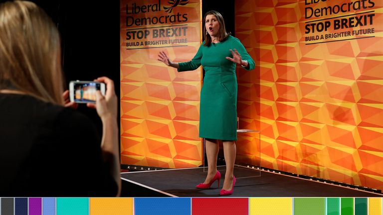 Britain's opposition Liberal Democrats leader Jo Swinson speaks during the launch of the Liberal Democrats general election manifesto in central London, on November 20, 2019. - Britain will go to the polls on December 12, 2019 to vote in a pre-Christmas general election. (Photo by Adrian DENNIS / AFP) (Photo by ADRIAN DENNIS/AFP via Getty Images)