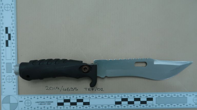 Knife recovered at Isaac's home. Pic: Met police