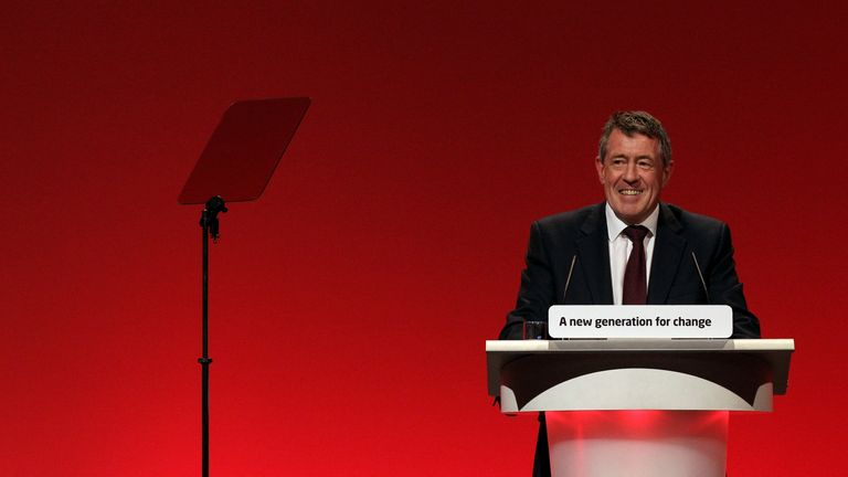 "MANCHESTER, ENGLAND - SEPTEMBER 30: Former Communities Secretary John Denham addresses delegates on the final day of the Labour party conference on September 30, 2010 in Manchester, England. Harman stated during her closing speech that it had been ""a historic conference"" and a ""rollercoaster of emotions"". (Photo by Oli Scarff/Getty Images)"