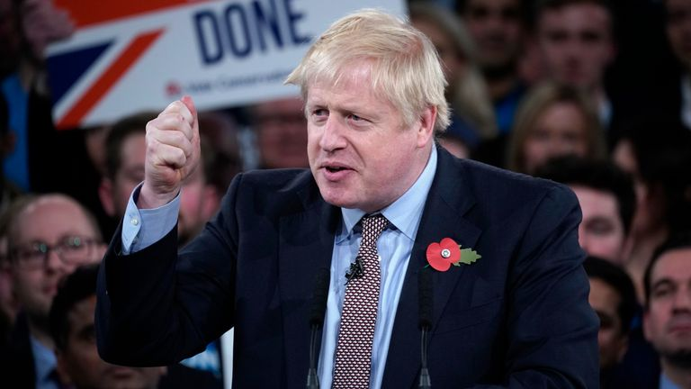 Boris Johnson talks onstage at the launch of the Conservative Party's General Election campaign