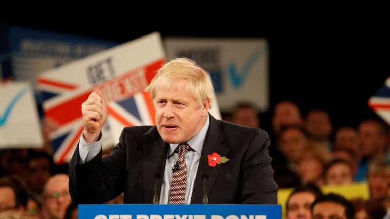 Boris Johnson speaks at the Conservative Party's General Election campaign launch