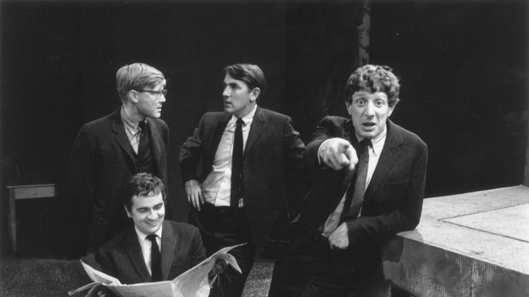 Alan Bennett, Peter Cook,  Dudley Moore and Jonathan Miller (R), authors and performers of the revue, Beyond The Fringe