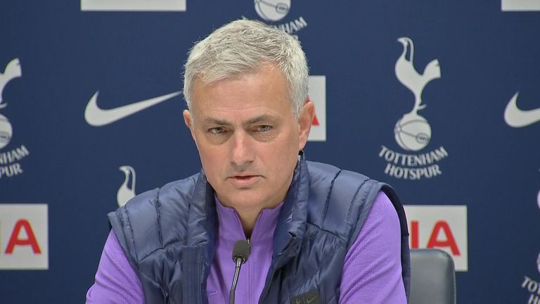 Jose Mourinho jokes with a reporter about having to leave his role as pundit with Sky Sports to become head coach at Tottenham.