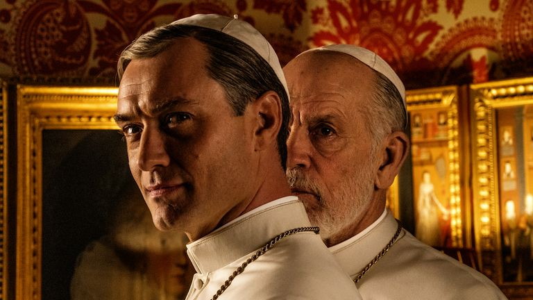 Jude Law and John Malkovich will go head to head in The New Pope. Pic: Sky Atlantic