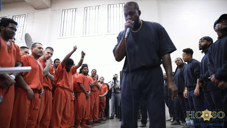 Kane West raps for inmates at Harris County jail