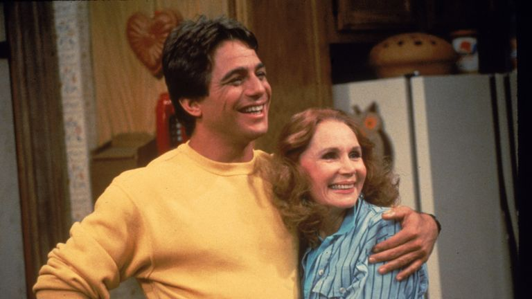 American actor Tony Danza hugs actor Katherine Helmond in a still from the television series, 'Who's The Boss,' circa 1986