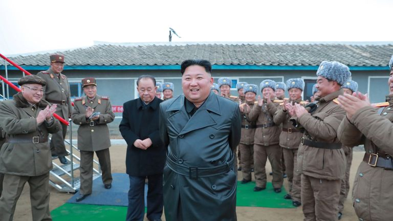 North Korean leader Kim Jong Un oversees a super-large multiple launch rocket system test in this undated picture released by North Korea's Central News Agency (KCNA) on November 28, 2019. KCNA via REUTERS ATTENTION EDITORS - THIS IMAGE WAS PROVIDED BY A THIRD PARTY. REUTERS IS UNABLE TO INDEPENDENTLY VERIFY THIS IMAGE. NO THIRD PARTY SALES. SOUTH KOREA OUT. NO COMMERCIAL OR EDITORIAL SALES IN SOUTH KOREA.