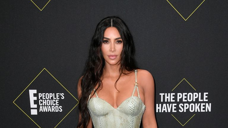 Kim Kardashian wore a Versace gown at the People's Choice Awards