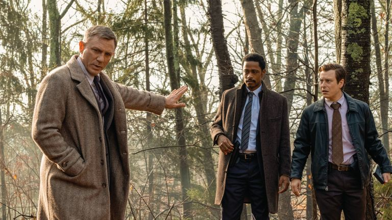 Daniel Craig, Lakeith Stanfield and Noah Segan in Knives Out (for interview with Don Johnson, also in the film)