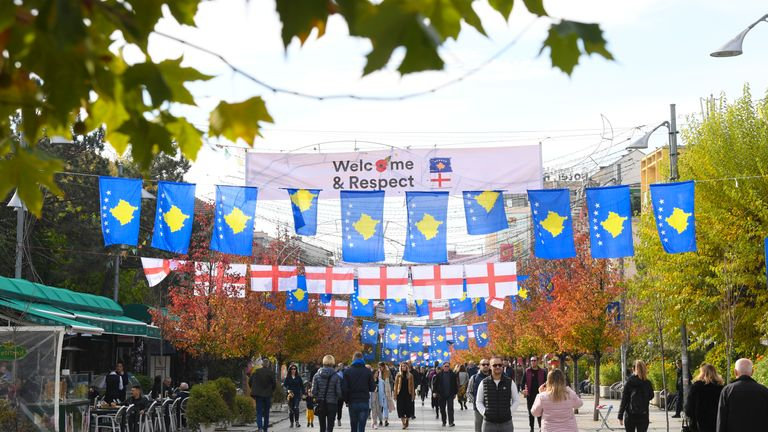 PRISTINA, KOSOVO - NOVEMBER 17: A view of flags on display before the UEFA Euro 2020 Qualifier between Kosovo and England on November 17, 2019 in Pristina, Kosovo. (Photo by Michael Regan/Getty Images)