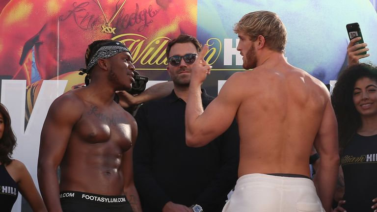 KSI, left, and Logan Paul, right, will fight in Los Angeles on Saturday night