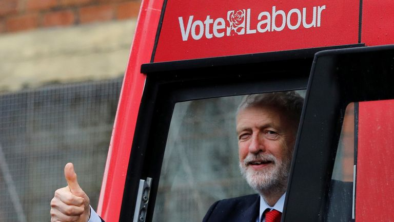 Labour Party leader Jeremy Corbyn waves as he unveils the Labour party campaign bus in Liverpool