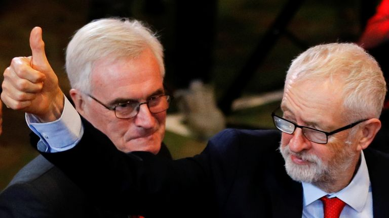 Labour Party leader Jeremy Corbyn and MP John McDonnell arrive at a party campaign event in Liverpool
