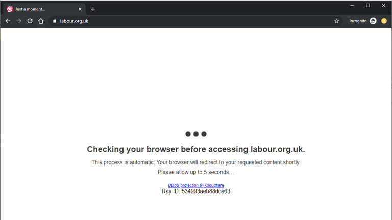 Cloudflare's protections are currently checking visitors to Labour's website