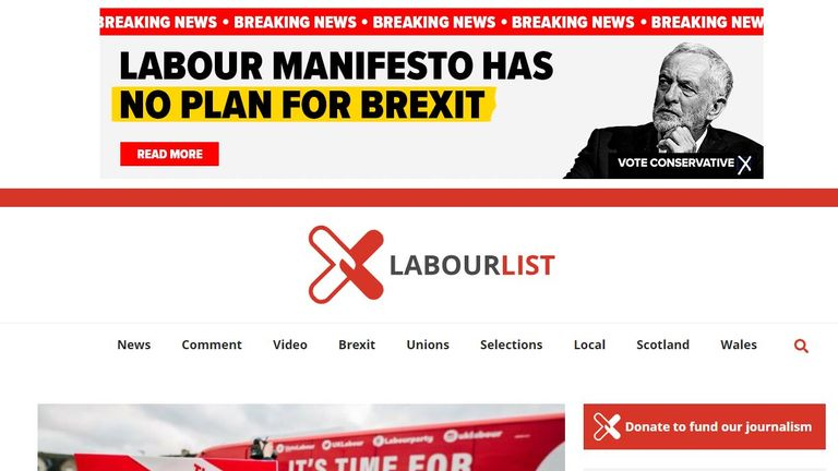 Another advertisement ended up running on Labour List, an online magazine supporting the Labour Party