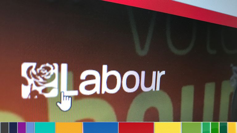 The home page of the Labour party's website with its logo