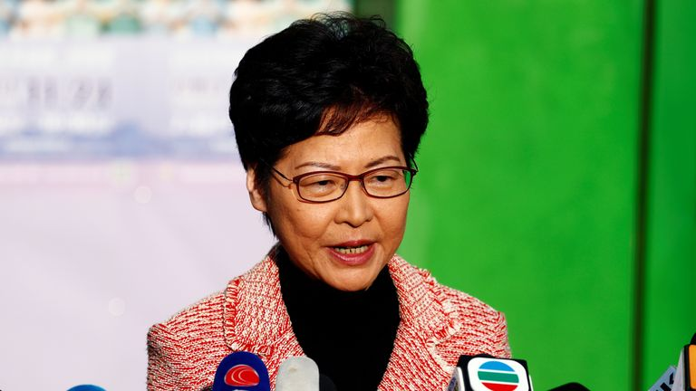 Hong Kong Chief Executive Carrie Lam speaks to the media after casting her vote