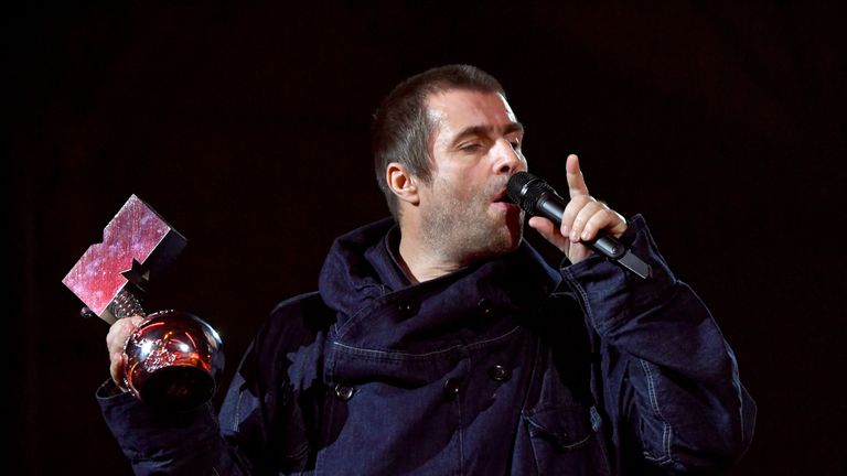 Liam Gallagher accepted the Rock Icon award