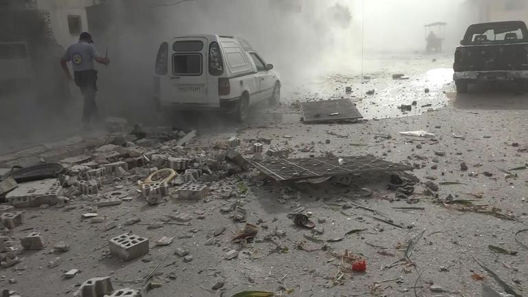 The blasts set shrapnel into the air and scattered debris across the district