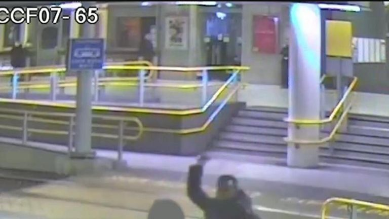 CCTV of a knife attack by Mahdi Mohamud at Manchester Victoria statin