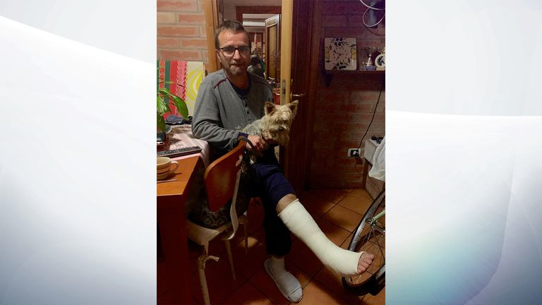 Marco Scarpa broke his foot while trying to salvage his belongings