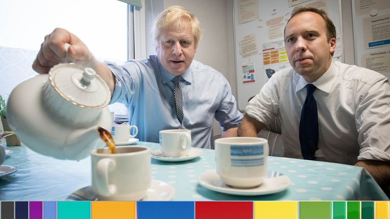 Boris Johnson with Matt Hancock during a visit to Bassetlaw District General Hospital in Worksop, Nottinghamshire, while on the campaign trail