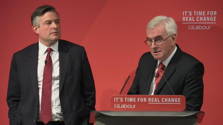 Jon Ashworth (l) and John McDonnell announced Labour's plans to add £26bn into the NHS budget