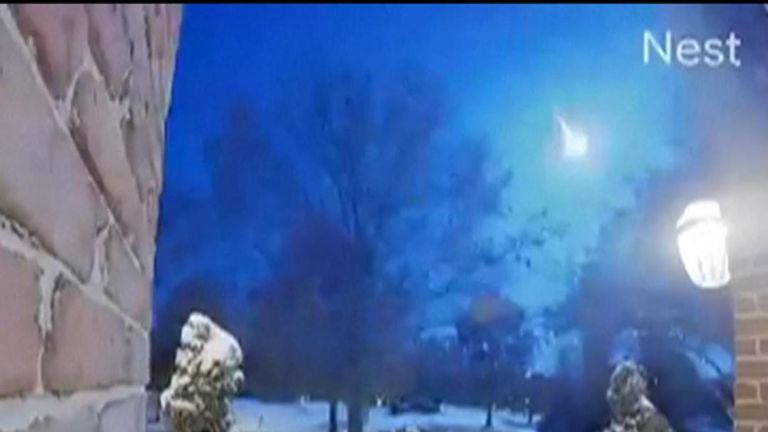 A meteor is seen Chesterfield in Missouri