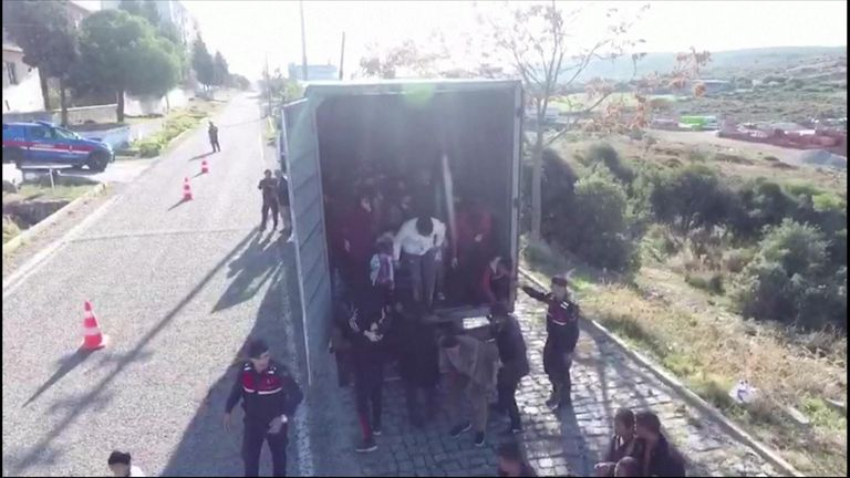 Turkish police have stopped 82 migrants aboard a lorry bound for Europe in the coastal town of Ayvacik.