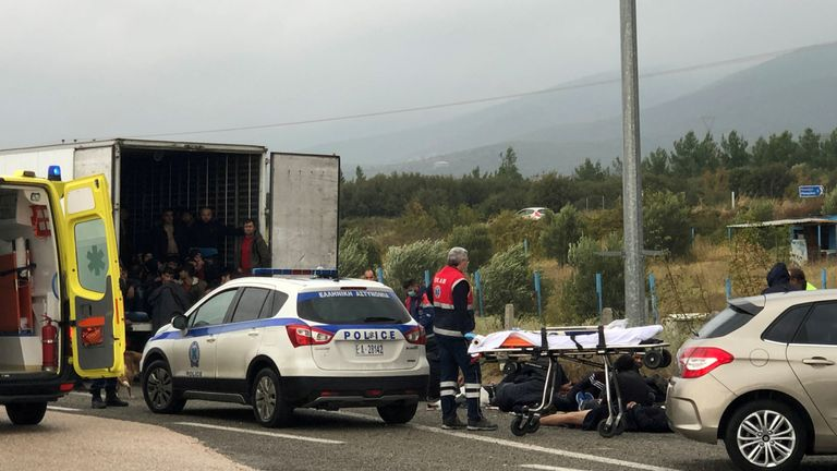 The 41 men and boys were found after a police check at a motorway near Xanthi