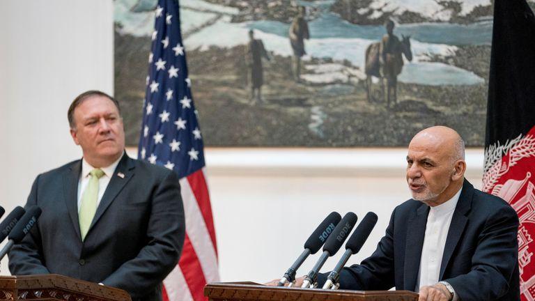 US Secretary of State Mike Pompeo met with Afghan president Ashraf Ghani in July