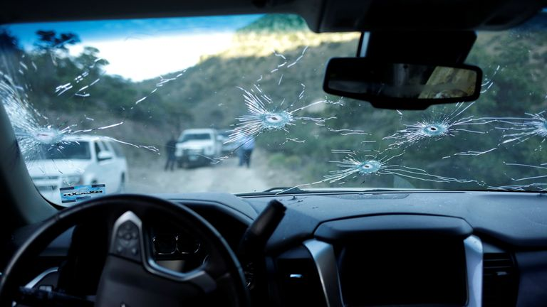 Bullet-riddled car after US Mormon family ambushed