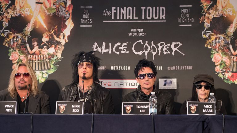 Motley Crue attend a press conference for their 'final tour' in 2015